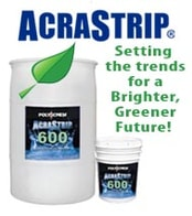 Environmentally-friendly solvent packaged in a large drum and small bucket with the AcraStrip 600 product label on the outside of each package.